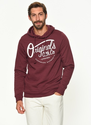 Jack & Jones Kapüşonlu Sweatshirt Bordo